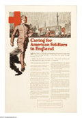 "Military & Patriotic:WWI, Caring For American Soldiers In England 21"" x 14"" Artist: unsigned.A small sized poster which depicts an American doughbo..."