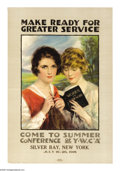 "Military & Patriotic:WWI, Make Ready for Greater Service. 30"" x 20"" Artist: Haskell Coffin.Printed for the Y.W.C.A. This poster was printed to ask wo..."