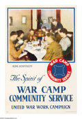 "Military & Patriotic:WWI, War Camp Community Service. 30"" x 20"" Artist: unsigned. Printed forthe United War Work Campaign, there are several posters ..."