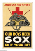 """Military & Patriotic:WWI, Our Boys Need Sox, Knit Your Bit 30"""" x 20"""" Artist: unsigned.Printed for the American Red Cross.Starting in WWI the Americ..."""
