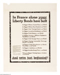 """Military & Patriotic:WWI, In France Alone Your Liberty Bonds... 28"""" x 22"""" Artist: Dugas.Printed for the Liberty Loan Committee. This poster was prin..."""