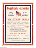 """Military & Patriotic:WWI, Registrants Attention! 24"""" x 16"""" Artist: unsigned. Printed for theUnited States Military. A locally printed/displayed pos..."""