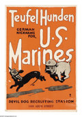 """Military & Patriotic:WWI, Teufel Hunden 28"""" x 19"""" Artist: signed only as """"H."""" A very playfulposter depicting two cartoon dogs in a chase, one being t..."""