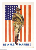 """Military & Patriotic:WWI, Be A U.S. Marine 39.5"""" x 27.5"""" Artist: James Montgomery Flagg. Printed for the U.S. Marine Corps. Another poster in the pant..."""