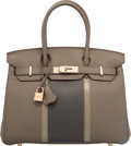 Luxury Accessories:Bags, Hermes Limited Edition 30cm Etain & Graphite Clemence Leat...
