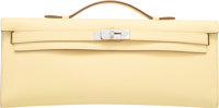 Hermes Jaune Poussin Swift Leather Kelly Cut Clutch Bag with Palladium Hardware T, 2015 Pristine Condition