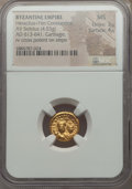 Ancients:Byzantine, Ancients: Heraclius (AD 610-641) & Heraclius Constantine (AD613-641). AV solidus (4.53 gm). NGC MS 3/5 - 4/5. ...