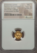 Ancients:Byzantine, Ancients: Heraclius (AD 610-641) & Heraclius Constantine (AD 613-641). AV solidus (4.49 gm). NGC MS 3/5 - 5/5.  ...