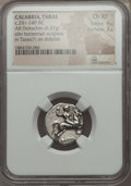 Ancients:Celtic, Ancients: CALABRIA. Tarentum. Ca. 272-240 BC. AR stater or didrachm(6.37 gm). NGC Choice XF 4/5 - 3/5....