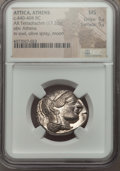Ancients:Greek, Ancients: ATTICA. Athens. Ca. 440-404 BC. AR tetradrachm (17.20gm). NGC MS 5/5 - 5/5. ...