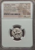 Ancients:Greek, Ancients: CALABRIA. Tarentum. Ca. 272-240 BC. AR stater or didrachm(6.53 gm). NGC XF 3/5 - 4/5....