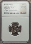 Ancients:Roman Imperial, Ancients: Augustus (27 BC-AD 14). AR denarius (3.71 gm). NGC XF 3/5 - 4/5....