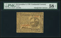 Colonial Notes:Continental Congress Issues, Continental Currency November 2, 1776 $2 PMG Choice About Unc 58EPQ.. ...