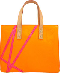 Louis Vuitton Limited Edition Orange Monogram Vernis Leather Reade PM Tote Bag by Robert Wilson Excellent Condi