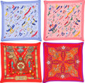 """Luxury Accessories:Accessories, Hermes Set of Four; 90cm Silk Plisse Scarves. Excellent Condition. 36"""" Width x 36"""" Length. 36"""" Width x 36"""" Length. 36"""" Wid... (Total: 4 Items)"""