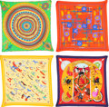 "Luxury Accessories:Accessories, Hermes Set of Four; 90cm Silk Plisse Scarves. ExcellentCondition. 36"" Width x 36"" Length. 36"" Width x 36""Length... (Total: 4 Items)"