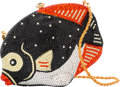 Luxury Accessories:Bags, Kathrine Baumann Limited Edition Full Bead Black & Red CrystalFish Minaudiere Evening Bag, 17/500. Very Good Condition...
