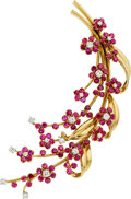 Estate Jewelry:Brooches - Pins, Ruby, Diamond, Platinum, Gold Brooch, Van Cleef & Arpels. ...
