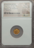 Ancients:Byzantine, Ancients: Theophilus (AD 829-842). AV tremissis (1.30 gm). NGC MS5/5 - 5/5....