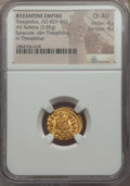 Ancients:Byzantine, Ancients: Theophilus (AD 829-842). AV solidus (3.85 gm). NGC ChoiceAU 4/5 - 4/5....