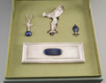 Silver Holloware, Continental:Holloware, A Cased Four-Piece Gianmaria Buccellati Rolls Royce Sterling Silverand Lapis Lazuli Necessaire Automobile Kit, Rome, circa ... (Total:4 Items)