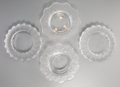 Art Glass:Lalique, Two Lalique Clear and Frosted Glass Jamaica Ashtrays withTwo Honfleur Ashtrays. Marks to Jamaica... (Total: 2Items)