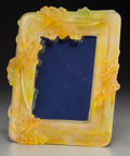 Art Glass:Daum, A Daum Pate de Verre and Yellow Glass Picture Frame, Nancy, France,late 20th century. Marks: Daum, France. 11 inches hi...