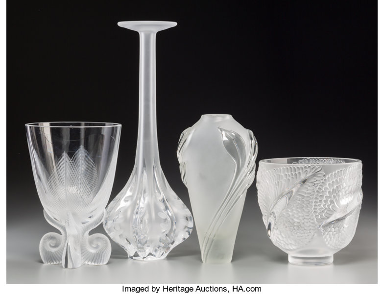 Three Lalique Clear And Frosted Glass Vases With Associated Lot