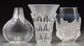 Art Glass:Lalique, Three Lalique Clear and Frosted Glass Vases, post-1945. Marks:Lalique, France. 7-1/4 inches high (18.4 cm). ... (Total: 3Items)