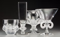 Art Glass:Lalique, Four Lalique Clear and Frosted Glass Vases with Animal Motifs,post-1945. Marks: Lalique, France. 11-1/8 inches high (28...(Total: 4 Items)