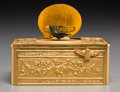 Decorative Arts, Continental:Other , A Continental Gilt Bronze Singing Bird Automaton Box and Case,circa 1890. 1-5/8 h x 3-3/4 w x 2-1/2 d inches (4.1 x 9.5 x 6...