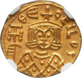 Ancients:Byzantine, Ancients: Theophilus (AD 829-842). AV solidus (3.83 gm). NGC AU 5/5- 5/5....