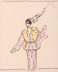 Fine Art - Work on Paper:Drawing, Peter Max (American, b. 1937). Lady in Pink, 1977. Markerand crayon on paper. 12-1/2 x 10-1/2 inches (31.8 x 26.7 cm) (...