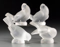 Art Glass:Lalique, Four Lalique Frosted Glass Birds, post-1945. Marks: Lalique,France. 3-7/8 inches high (9.8 cm) (tallest). ... (Total: 4Items)