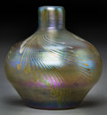 Art Glass:Tiffany , Tiffany Studios-Style Decorated Favrile Glass Cabinet Vase. Circa1901. Engraved L.C.T., o5204. Ht. 2-7/8 in.. ...