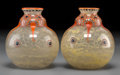 Art Glass:Other , Pair of Marcel Goupy Enameled Glass Squat Vases. Circa 1925.Enameled and engraved M. Goupy. Ht. 5-1/4 in. . ... (Total:2 Items)