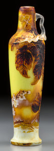 Art Glass:Muller, Muller Freres Enameled Overlay Glass Raspberry Vase withApplied Handle. Circa 1910. Cameo MULLER FRES, LUNEVI...