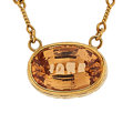 Estate Jewelry:Necklaces, Hessonite Garnet, Gold Necklace, Andrew Sarosi . ...