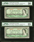 Canadian Currency: , Matching Serial Numbers BC-37b $1 1954 Two Examples.. ... (Total: 2notes)