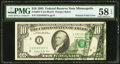 Error Notes:Foldovers, Fr. 2027-I $10 1985 Federal Reserve Note. PMG Choice About Unc 58EPQ.. ...