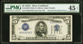 Error Notes:Inverted Third Printings, Fr. 1653 $5 1934C Wide Silver Certificate. PMG Choice ExtremelyFine 45 EPQ.. ...