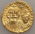 Ancients:Byzantine, Ancients: Constans II (AD 641-668) & Constantine IV (AD654-685). AV solidus (4.28 gm). Choice XF....