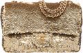 "Luxury Accessories:Bags, Chanel Metallic Gold Sequin Medium Single Flap Bag. ExcellentCondition. 10"" Width x 6"" Height x 2.5"" Depth. ..."
