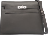 Hermes Graphite Swift Leather Kelly Danse Bag with Palladium Hardware O Square, 2011 Excellent Condition
