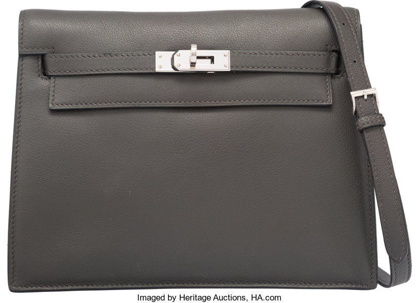 1b00ee836b7 O; Luxury Accessories:Bags, Hermes Graphite Swift Leather Kelly Danse Bag  with PalladiumHardware.