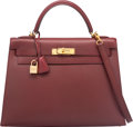Luxury Accessories:Bags, Hermes 32cm Rouge H Calf Box Leather Sellier Kelly Bag with GoldHardware. E Square, 2001. Excellent Condition.12...
