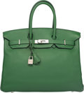 "Luxury Accessories:Bags, Hermes 35cm Vert Bengale Swift Leather Birkin Bag with Palladium Hardware. N Square, 2010. Very Good Condition. 14"" Width ..."