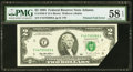 Error Notes:Foldovers, Fr. 1936-F $2 1995 Federal Reserve Note. PMG Choice About Unc 58 EPQ.. ...