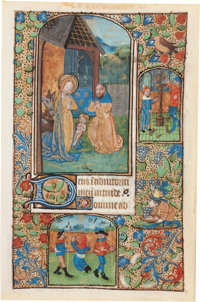 [Illuminated Manuscript]. Manuscript Leaf from a Medieval Book of Hours: Hours of the Virgin at Prime. In