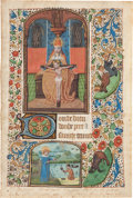 Books:Illuminated Manuscripts, [Illuminated Manuscript]. Manuscript Leaf from a Medieval Book of Hours: Seven Requests to Our Lord, beginning with the Pr...